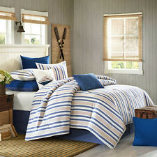 4-Pc Woolrich Lake Side King Comforter Set Beige Blue White Nautical Stripes