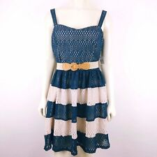 Teeze Me Blue & Cream Striped Sleeveless Lace Belted Dress Juniors MEDIUM NEW