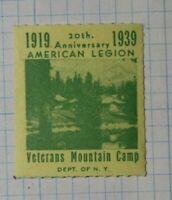 American Legion Veterans Mountain Camp 1939 Patriotic Poster Stamp