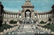 Marseille France carte postale ~1910 Le palais de Longchamp Brunnen Kaskaden