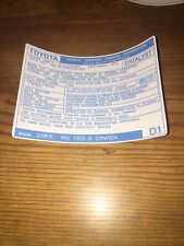 1988 Toyota Pickup Truck/4runner Emissions Info Decal Repro Sticker Fed 22re D1