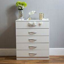 Hulio Drawer Chest 5 Drawers High Gloss Wood Storage Bedroom Furniture White