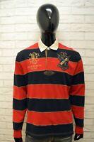 Ralph Lauren Uomo M L Maglione Blu Felpa Sweater Cardigan Pullover Cotone Righe