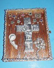 "Shadow Cigar Box Lid Wall Art Cross Madonna Child Shells Beads Rhinestone 10""x8"""