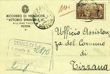 G177-RISORGIMENTO, L. 8 SU CARTOLINA, DA PISTOIA A TIZZANA, 1948