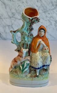 Antique Staffordshire Red Riding Hood Wolf Spill Vase 19th C