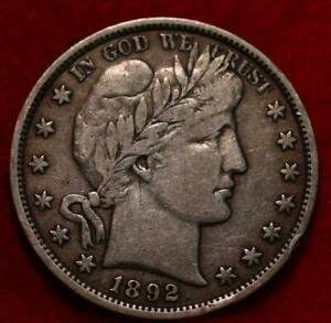 1892 Philadelphia Mint Silver Barber Half Dollar