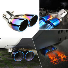 "1pc Polished Stainless Steel Diameter 2.5"" Exhaust Dual Pipes Tip Blue Burnt Set"