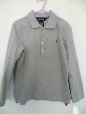 RALPH LAUREN AGE 6 GIRLS GREY COTTON LONG SLEEVE POLO SHIRT WITH PINK LOGO
