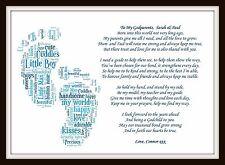 Personalised Christening Poem gift Godchild Godparents Godmother Word Art Baby
