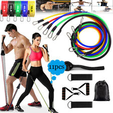 11 PCS Resistance Bands Yoga Pilates Abs Exercise Fitness Tube Workout Bands US