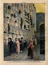 JEWS OF JERUSALEM ASSEMBLE AT TEMPLE WEEPING WALL OF BLANIAC REPUBLICAN ISREAL