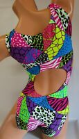 FlipFlop Leos Gymnastics Leotard,  Gymnast Leotards - OPEN BACK PATCHWORK SAFARI