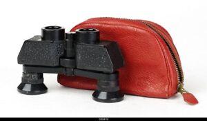Carl Zeiss Jena Theatis  3,5 x 15  Binocular Black With Red  Casse