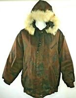 Forecaster of Boston Womens Small Brown Paisley Fur Hooded Coat Insulated Jacket