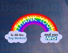 Car Sticker THANK YOU NHS & KEYWORKERS Rainbow Van House Window Bumper Decal