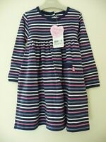 JoJo Maman New Navy Multi Stripe Dress 3-4 Years Soft & Cosy Long Sleeve Girls