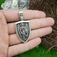 Erzengel St. Michael Anhänger Amulett Russisch Orthodox Schutzschild+Lederette
