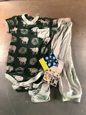 Kickee Pants Bamboo S/S One-Piece & Pant Sheep Design- Size: 12-18 Months- NWT