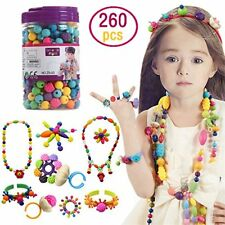 Kids Pop Snap Beads Set  Creative DIY Jewelry Making Kit for Girls