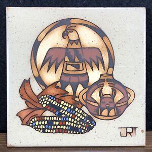 Cleo Teissedre Hand Glazed Tile Trivet Western Eagle Corn Maize Pottery JRT