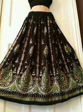 Ladies Indian Boho Hippie Party Long Sequin Skirt Rayon Black&Green inset color