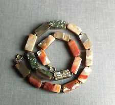 Vintage Antique Art Deco 30s Geometrical Mother Of Pearl Shell Bead Necklace