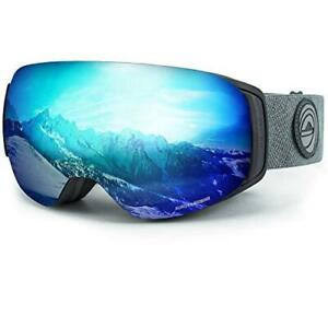 WildHorn Outfitters Roca Adult Ski/Snowboard Goggles Stealth/Ice Blue Clip Lock