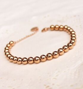 Women's 18K Rose Gold Filled Simple 4mm and 6mm Solid Ball Beads Chain Bracelet