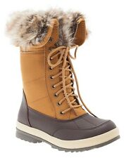 Fur Lined Women's Winter Boots Brown Gold Size 7W By Lane Bryant