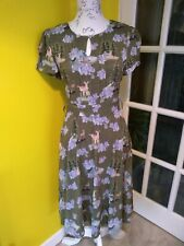 Lindy Bop Bretta Green Deer Tea Dress Size 8