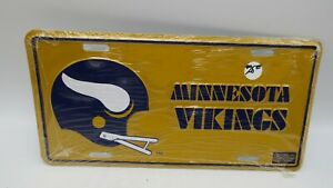 NOS VTG Metal Embossed Front License Plate Car Tag Minnesota Vikings Yellow NFL
