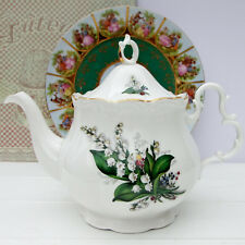 Vintage  Bone China Lily of the Valley Large Floral Teapot