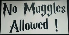 "No Muggles Allowed sign wall art matt black 8"" wide × 4"" high - Harry Potter"