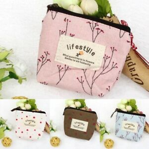 Women Ladies Girls Canvas Coin Card Pouch Small Wallet Purse Money Holder