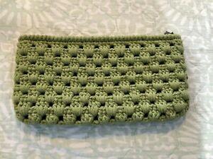 NEW ~ Knit Crochet XL Clutch Bag, Lining, Zip Closure, light green