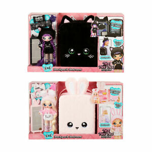 Na Na Na Surprise 3 in 1 Backpack Bedroom Kids Dress Up Playset w/Doll Black LF