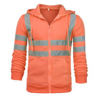 Mens Hoodie High Visibility Workwear Coat Safety Reflective Winter Jacket Tops