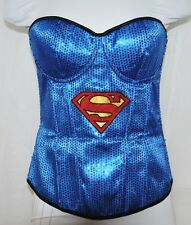 Rubie's SuperGirl SuperHero  Blue Sequin Lace Up Bodice Corset Bustier Top L