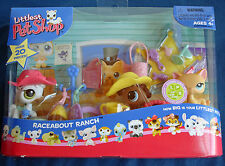 Littlest Pet Shop Raceabout Ranch with white & brown ponies orange kitty +