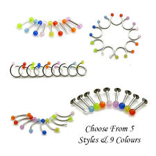 Labret Stud Horseshoe Circular Curved Barbell Straight Bar All Sizes & Colours