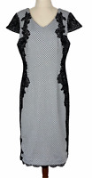 Boo Radley Womens Black/White Spotted Cap Sleeve Lined Dress Size L