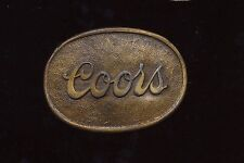 VINTAGE COORS Oval Shaped Logo Raised Script with border belt buckle