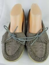 1970's Vintage Leather Loafers 9M Armadillos gray insets, fringe, ties sheila