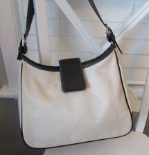 Auth COACH Hamptons Cream/Ivory Canvas Black Leather Trim Purse Handbag  #7701