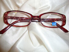 Reading Glasses-Clear Red Etched Flower 1.50 *(o/)*