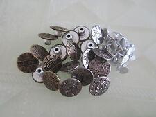 12 x 17mm Hammer/Press On Dark Brass Bronze Silver Denim Jeans Buttons with Pins