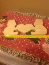 "Unfinished Wood Wooden Craft Cut Outs Double Bear with a Heart 10"" Wide"