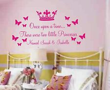 Personalised Once upon wall art sticker quote for girls share bedroom two names