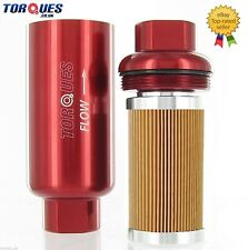 "AN -6 (AN6 JIC-6) Red Anodised Billet Fuel Filter 10 Micron And Cradle 5.5""x2"""